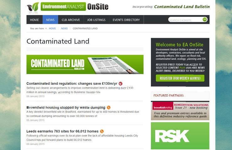 environment website design for environment analyst onsite