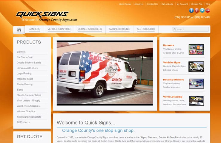 Web Development Services for Orange County Signs
