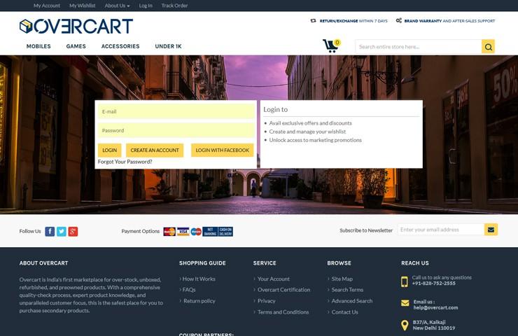 eCommerce Website For Overcart