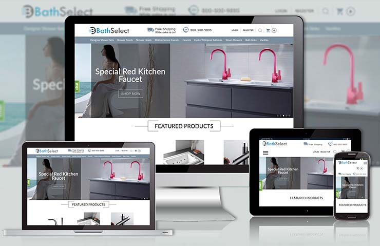 BatheSelect Bathroom Fixtures Website Development Screenshot