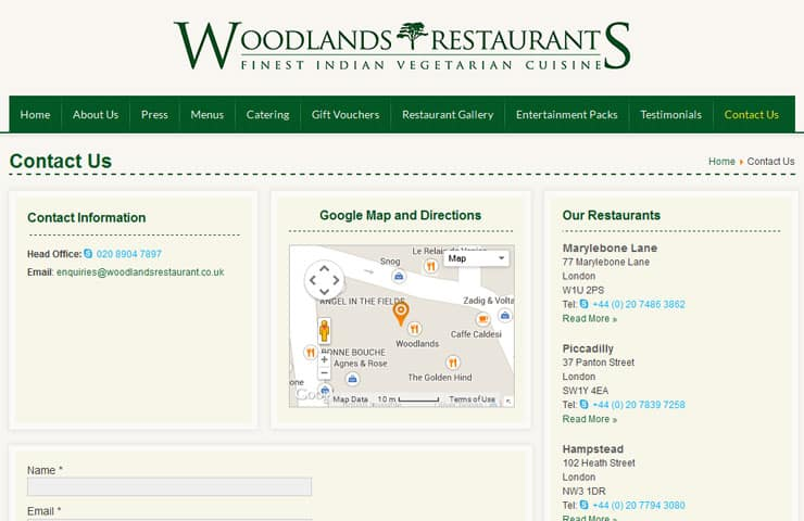 Web Design Of Woodlands Restaurants