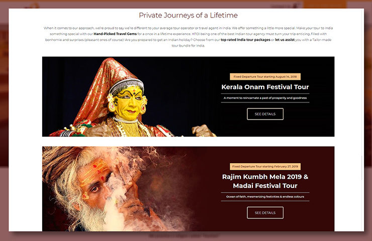 Hidden Treasures of India Website Home Page Screenshot