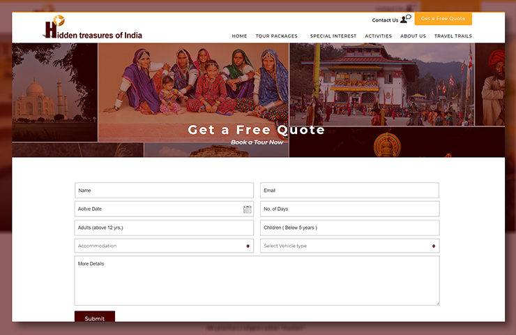 Hidden Treasures of India Website Tour Page Screenshot