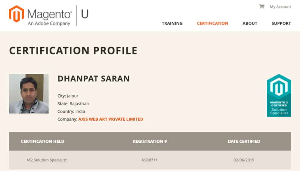 Magento 2 Certified Solution Specialist - Dhanpat Saran