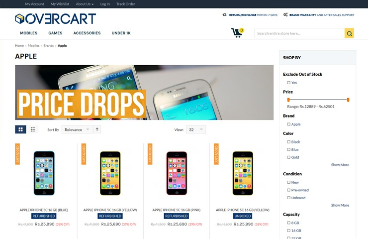 Refurbished Product Web Development For Overcart