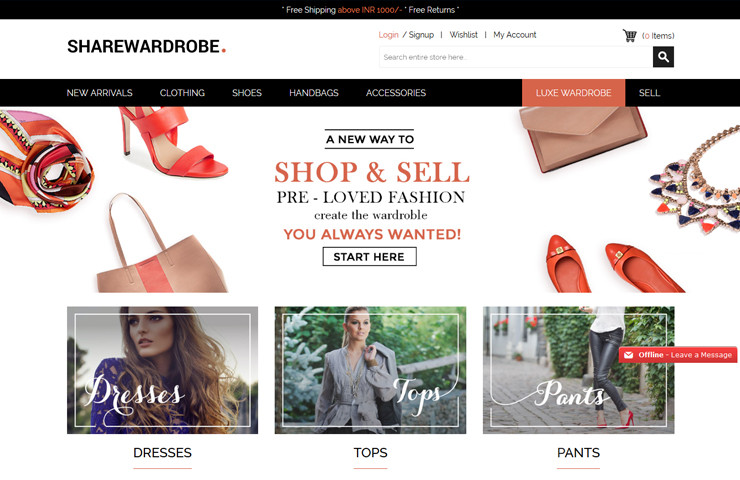Sharewardrobe MarketPlace eCommerce Development