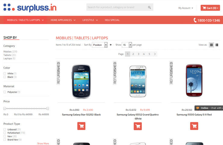 Refurbished Product Of Surpluss Website Development