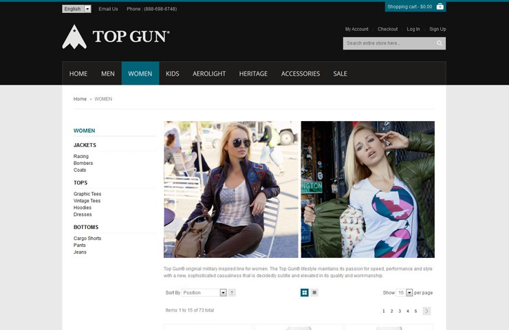 eCommerce store for Top Gun with Magento