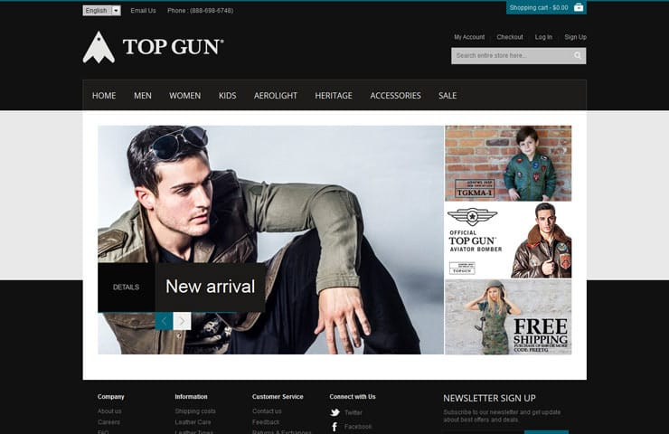 eCommerce Website Development Of Top Gun Store