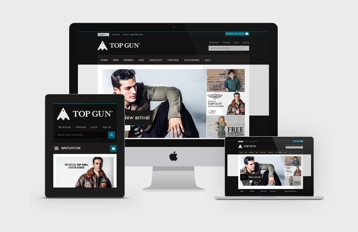 eCommerce Web Development Of Top Gun