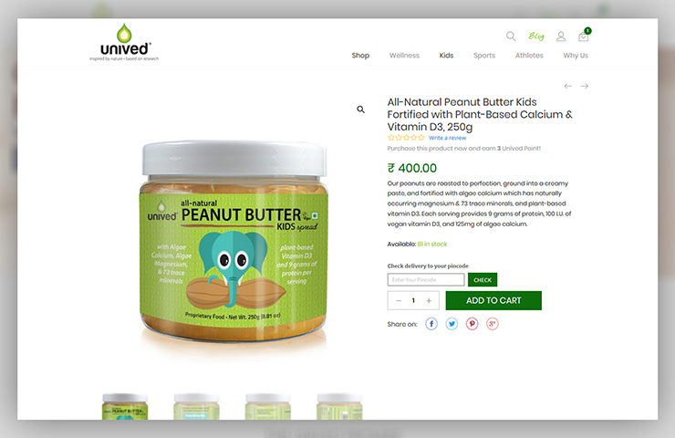 Unived Website Product Detail page